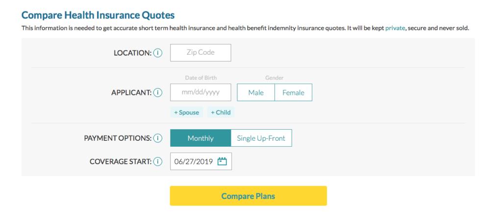 Compare online short term temporary health insurance quotes online Compare Planes de seguro medico en Florida
